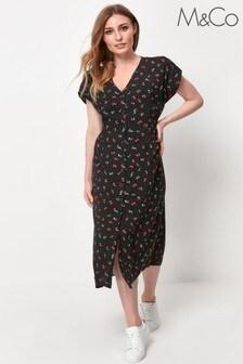 M&Co Black Cherry Print Midi Dress