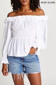 River Island White Ruffle Shirred Waist Bardot T-Shirt