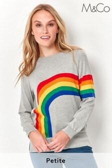 M&Co Grey Petite Rainbow Jumper