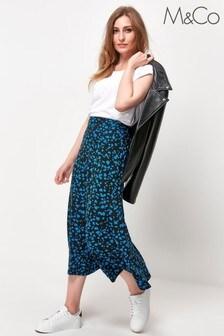 M&Co Black Animal Print Midi Skirt