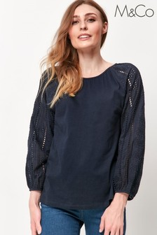 M&Co Blue Broderie Top
