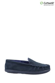 Cotswold Mens Blue Sodbury Slip On Moccasin Slippers