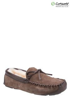 Cotswold Mens Brown Northwood Sheepskin Moccasin Slippers