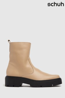 Schuh Natural Alina Leather Sock Boots