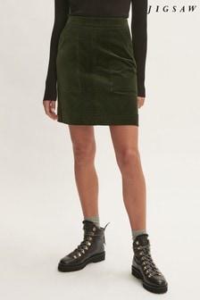 Jigsaw Green Velvet A-Line Mini Skirt