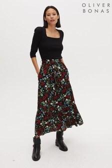 Oliver Bonas Black Floral Print Button Through Midi Skirt
