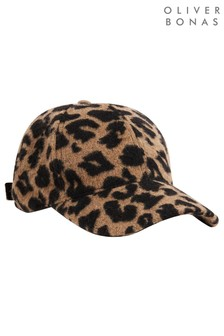 Oliver Bonas Black Animal Print Textured Baseball Hat