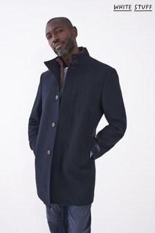White Stuff Mens Blue Lincoln Wool Funnel Coat