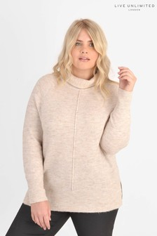 Live Unlimited Curve Natural Oatmeal Roll Neck Boxy Jumper