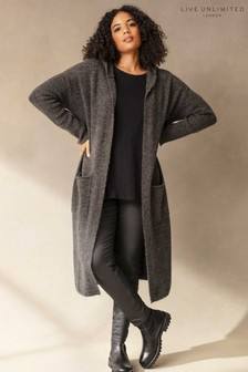 Live Unlimited Curve Grey Longline Hooded Cardigan