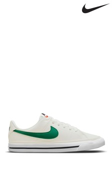 Nike White Green Court Legacy Youth Trainers