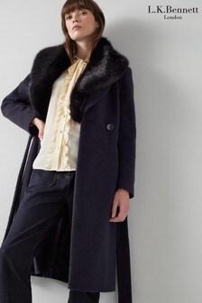 L.K.Bennett Ava Fur Trim Belted Coat