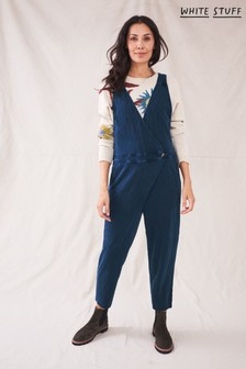 White Stuff Womens Blue Pleat Front Jersey Dungarees
