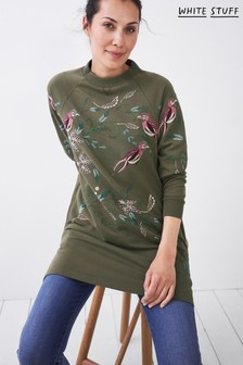 White Stuff Womens Green Maple Embroidered Tunic
