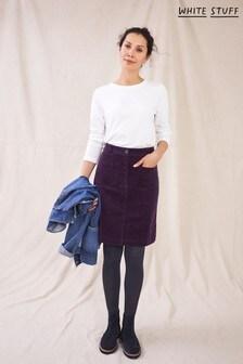 White Stuff Womens Purple Melody Organic Cord Skirt