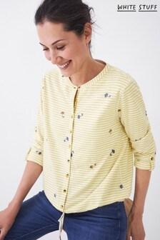 White Stuff Womens Yellow Tie Hem Jersey Shirt