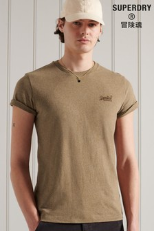 Superdry Brown Organic Cotton Vintage Logo Embroidered T-shirt