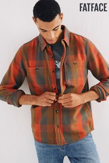 FatFace Mens Orange Hackford Check Shirt