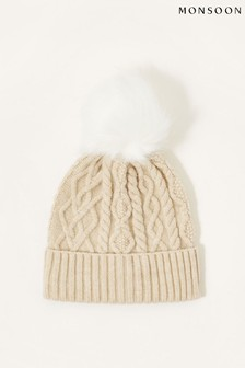 Monsoon Natural Cable Knit Pom Pom Beanie
