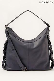 Monsoon Blue Plaited Leather Shoulder Bag
