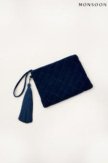 Monsoon Teal Quilted Velvet Clutch Bag