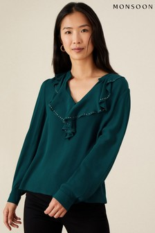 Monsoon Teal Studded Frill Neck Blouse