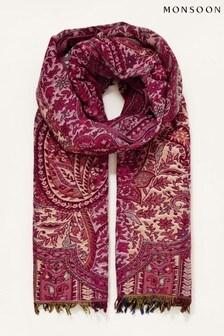 Monsoon Red Paisley Jacquard Blanket Scarf