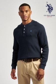 U.S. Polo Assn. Blue Raglan Waffle Long Sleeve T-Shirt