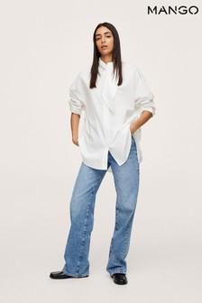 Mango White Bow Neck Shirt