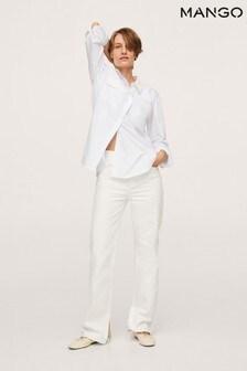 Mango Womens White Chest-Pocket Cotton Shirt
