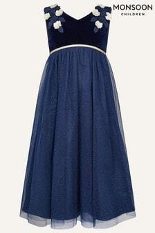Monsoon Younger Girls Blue Lilly Velvet Maxi Dress