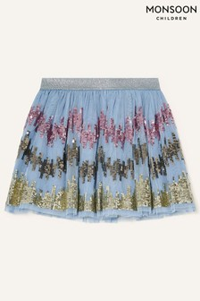 Monsoon Younger Girls Blue Sequin Zig-Zag Skirt