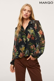 Mango Black Floral Print Blouse