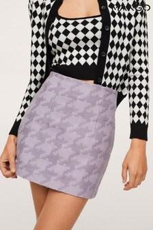 Mango Purple Houndstooth Mini Skirt