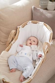 The White Company Newborn Unisex White Robot Mock Top Sleepsuit