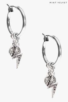 Mint Velvet Silver Tone Charm Hoop Earrings
