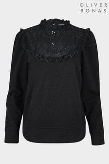Oliver Bonas Black Broderie Yoke Sweatshirt