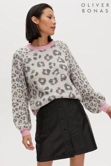 Oliver Bonas Grey Animal Jacquard Contrast Trim Knitted Jumper