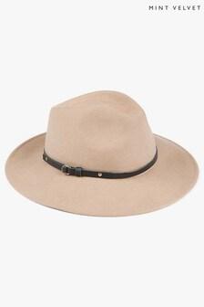 Mint Velvet Yellow Camel Brown Wool Fedora Hat
