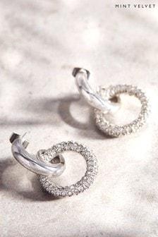 Mint Velvet Silver Tone Hoop Drop Earrings