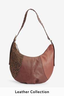 Leather Panelled Detail Oversized Sling Bag