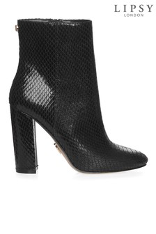 Lipsy Snake Block Heel Ankle Boots