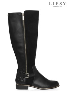 Lipsy Knee High Zip Quilted Riding Boots
