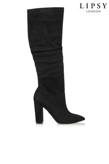 Lipsy Ruched Block Heel Knee High Boots