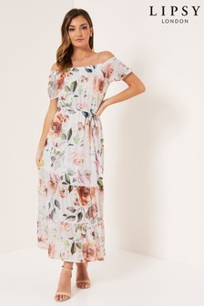 Lipsy Bardot Floral Mesh Midaxi Dress
