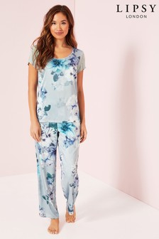 Lipsy Satin Long PJ Set
