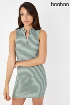 Boohoo Striped O Ring Mini Bodycon Dress