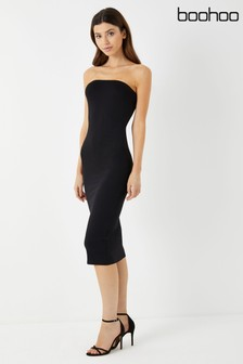 Boohoo Bandeau Bodycon Midi Dress