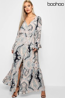 Boohoo Curve Paisley Wrap Maxi Dress
