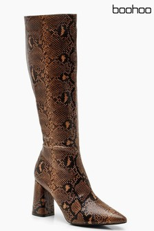 Boohoo Snake Knee High Block Heel Boots
